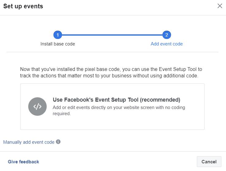 standard events on Facebook Pixel